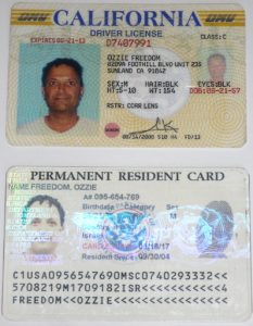 Ozzie Freedom Drivers License +Green Card